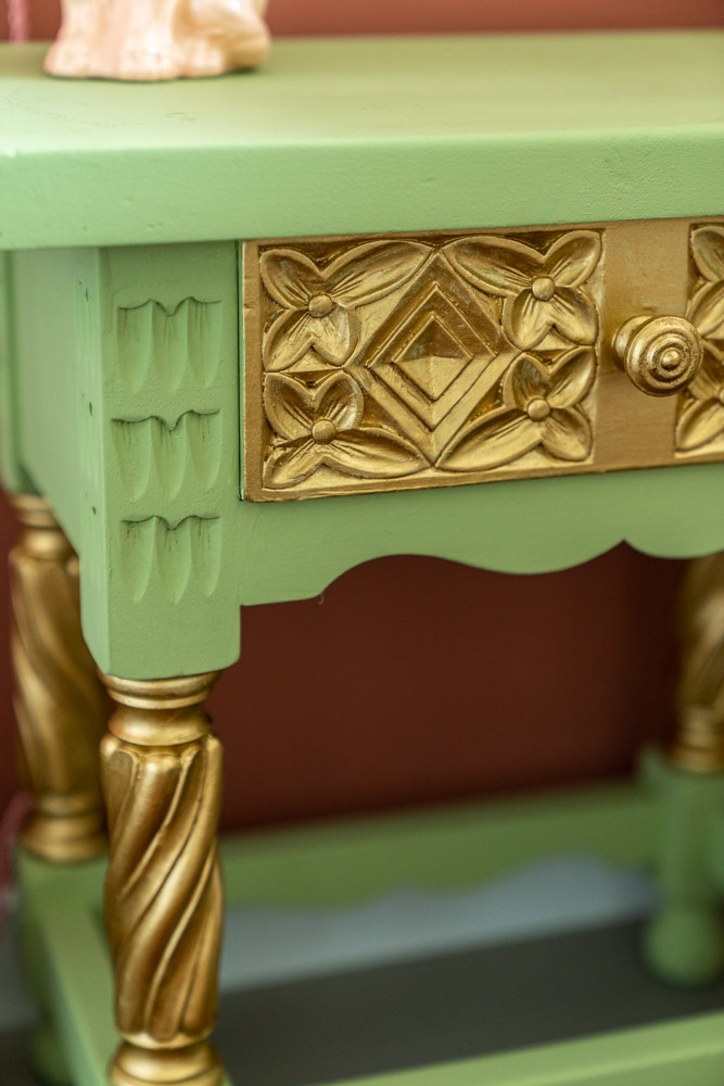 nachtkastje pimpen groen en goud