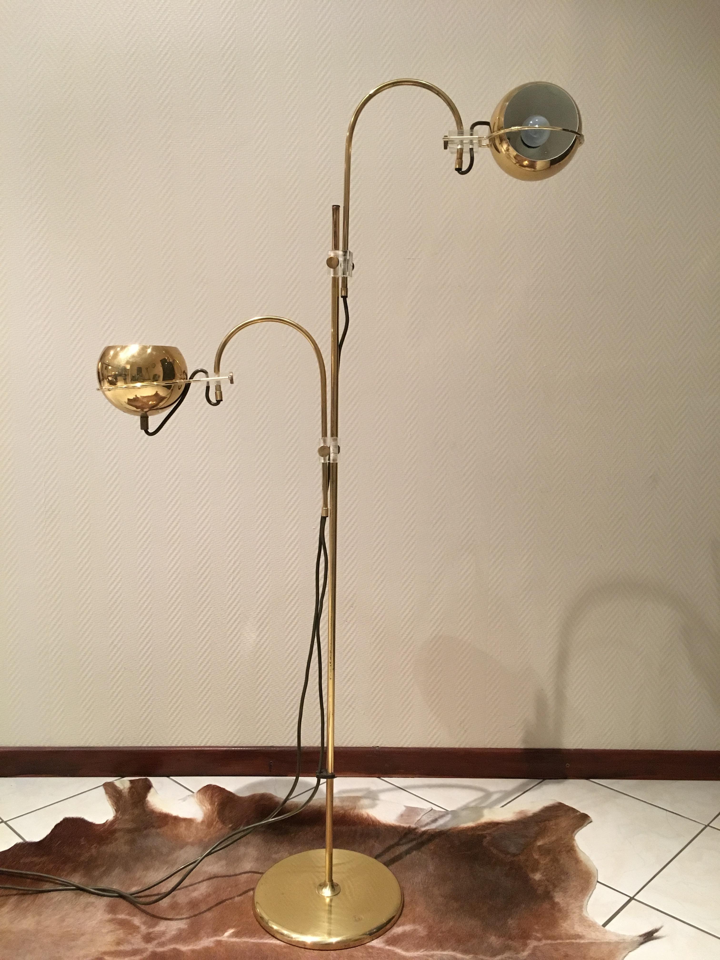70 vintage floor lamp brass design 70 s