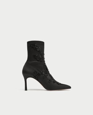 Zara Embroidered Satin High Heel Ankle Boots