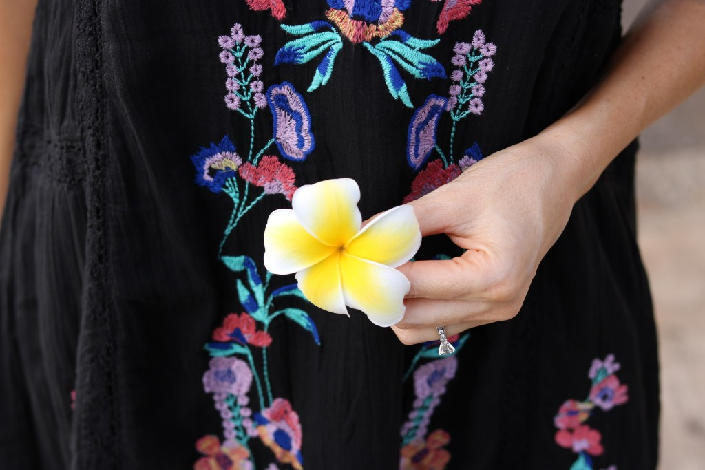 Hawaiian Flower, Plumeria, Free People dress, Summer Fashion