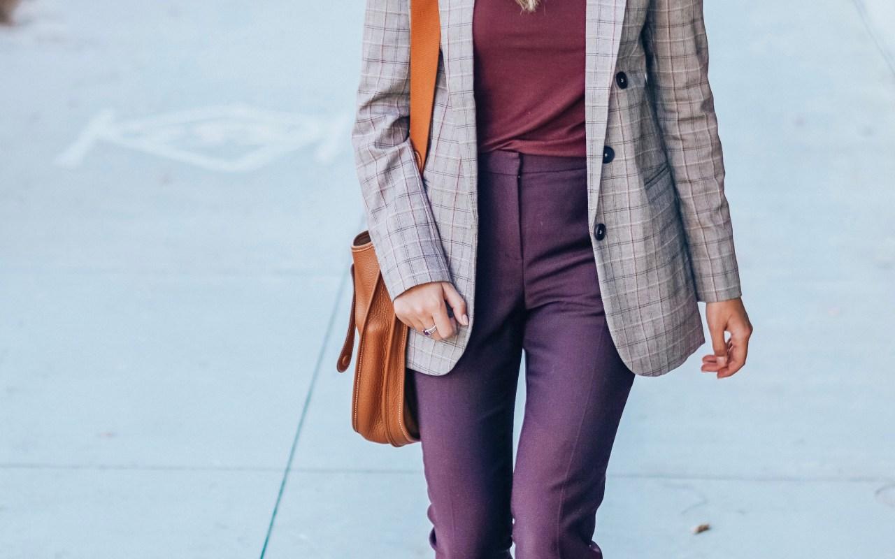 express plaid blazer with hermes evelyne and stuart weitzman sandals