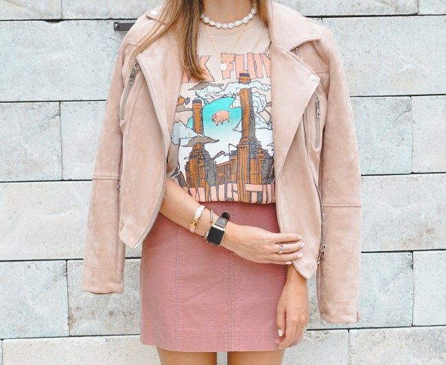 pink floyd tee with pink moto jacket and pink skirt