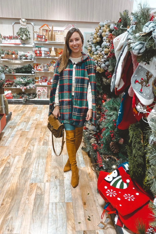 amazon plaid cape with goodnight macaroon over the knee boots