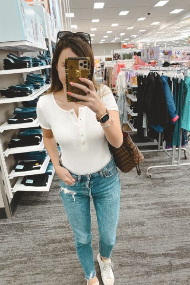 Privacy please white bodysuit with agolde denim and lv neverfull