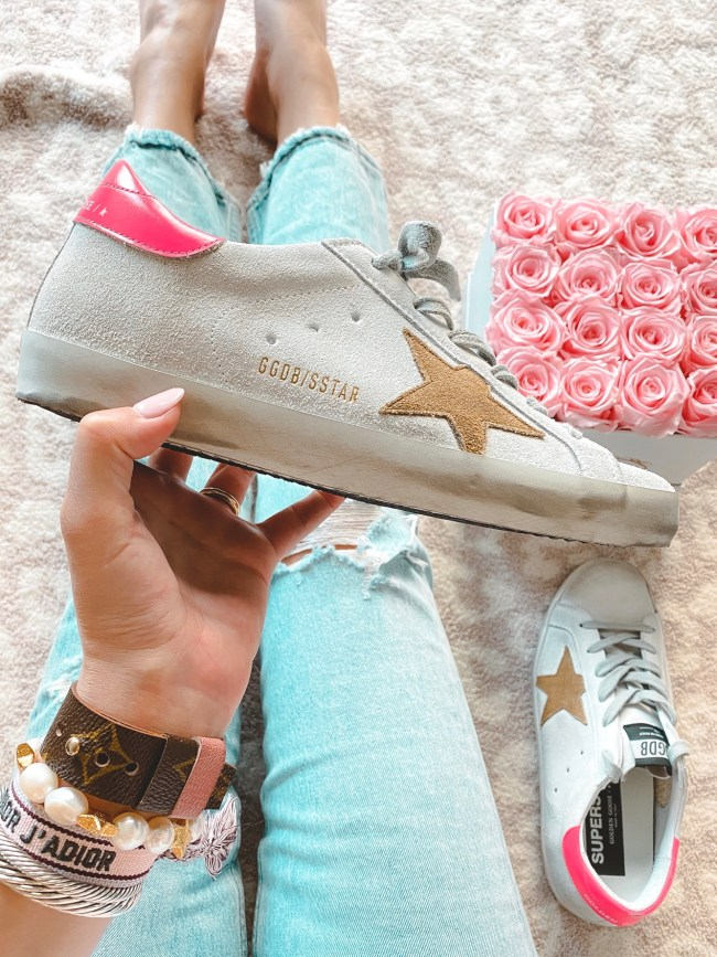 tan star pink back golden goose sneakers with roses