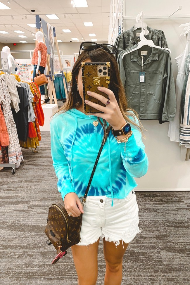 blue tie dye long sleeve with white shorts and louis vuitton palm springs mini