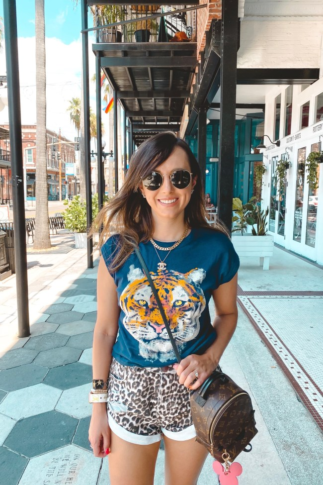chaser tiger tee with leopard shorts and louis vuitton palm springs