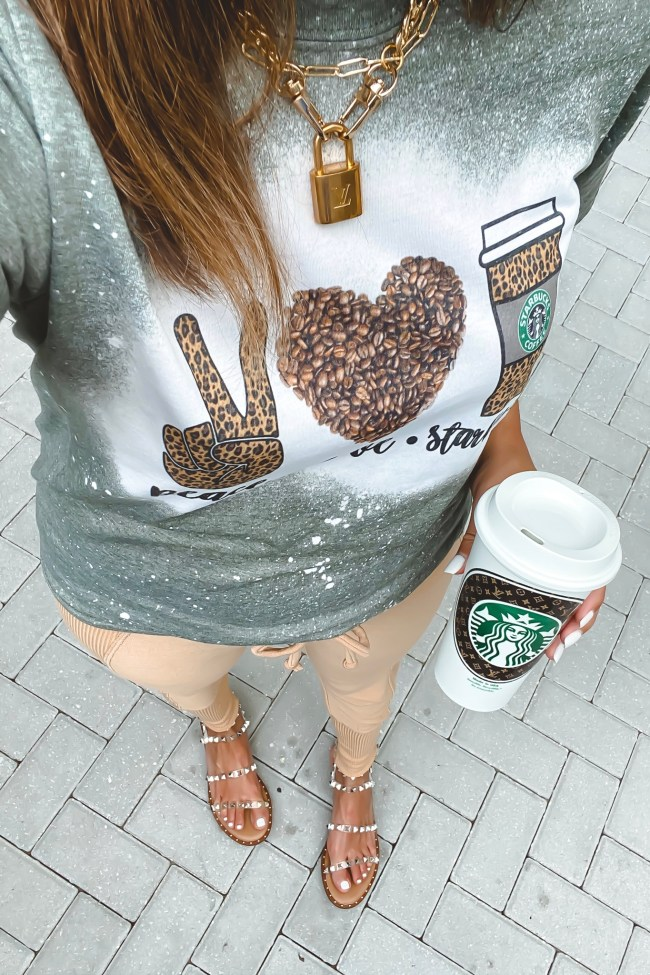 peace love starbucks tee with joggers and steve madden travel sandals