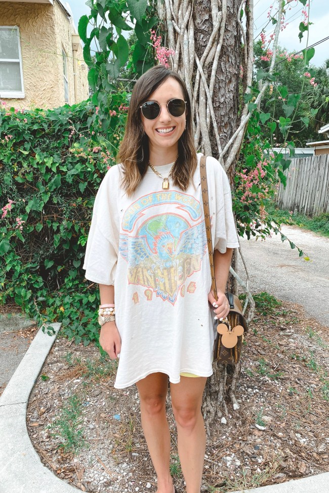 van halen tshirt dress with louis vuitton pochette metis and rayban icons