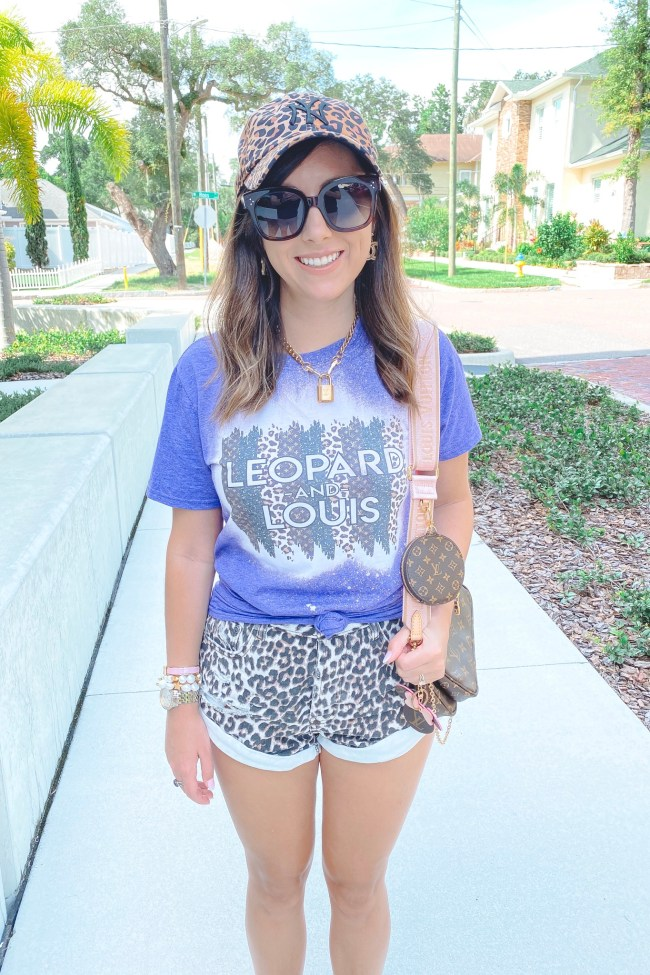 August outfit ideas leopard and louis tee with leopard shorts and louis vuitton multi pochette