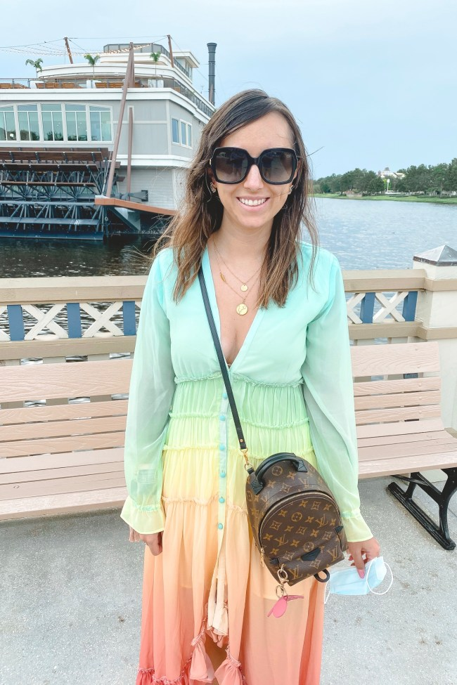 chicwish rainbow dress with gucci sunglasses and louis vuitton palm springs mini