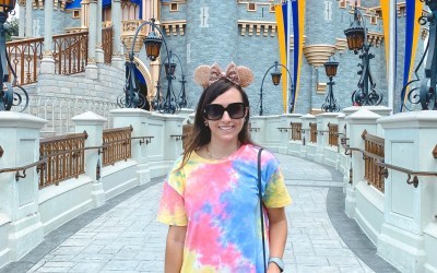 shein tie dye tshirt dress with mouse ears at magical kingdom