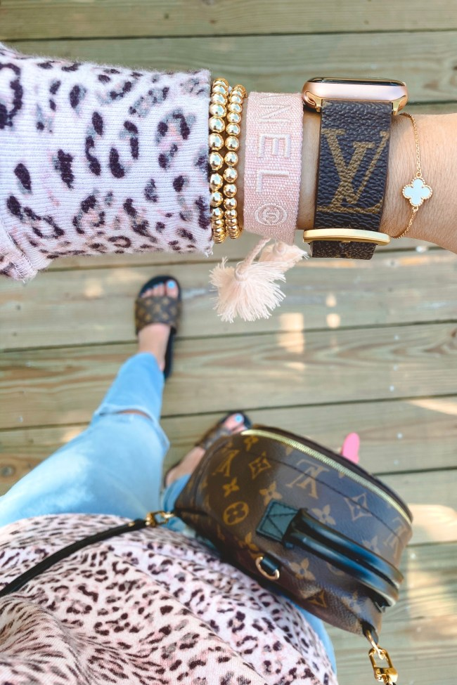 louis vuitton apple watch band with pink chanel bracelet and gold beaded bracelets