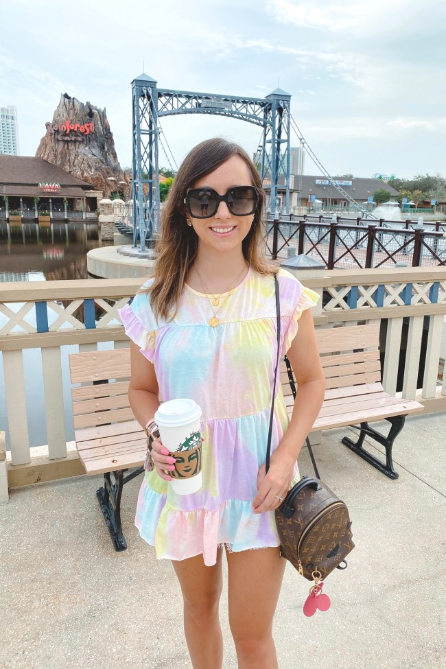 shein tie dye peplum top with louis vuitton palm springs mini and starbucks cup