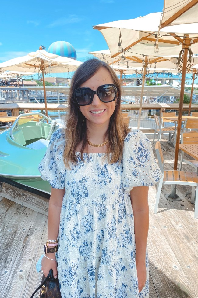 chicwish puff sleeve dress with gucci sunglasses at boathouse orlando