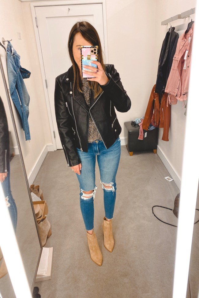 nordstrom anniversary sale 2020 topshop faux leather jacket with frame denim