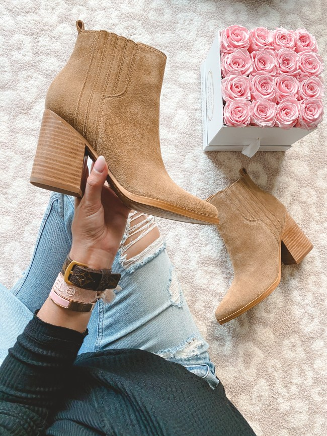 Marc fisher Oshay Pointed Toe Bootie in cognac suede with roses