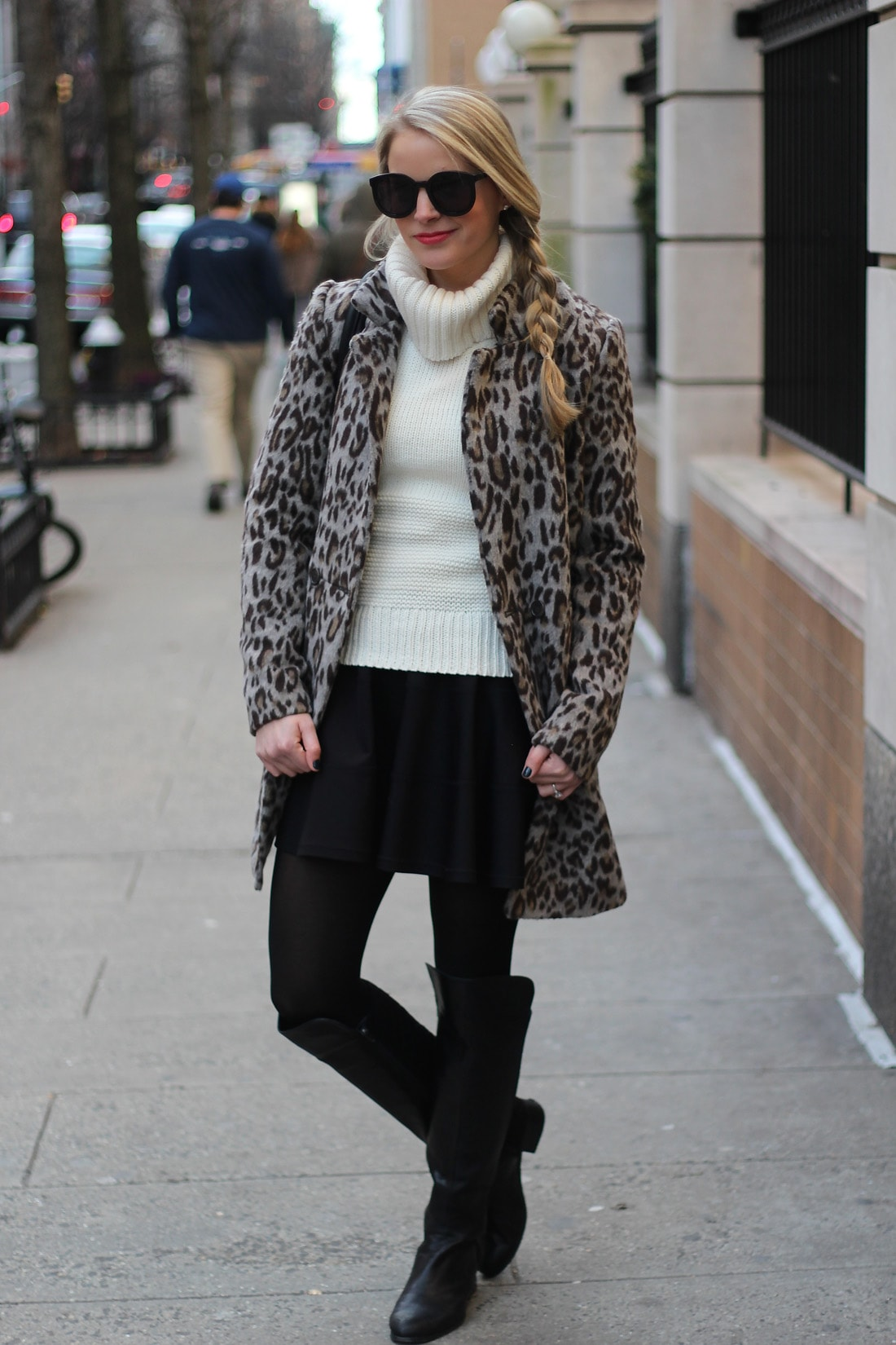 leopard coat, turtleneck sweater, fit and flare skirt, over the knee boots