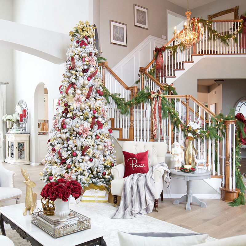 A Burgundy And Blush Christmas Living Room Styled With Lace