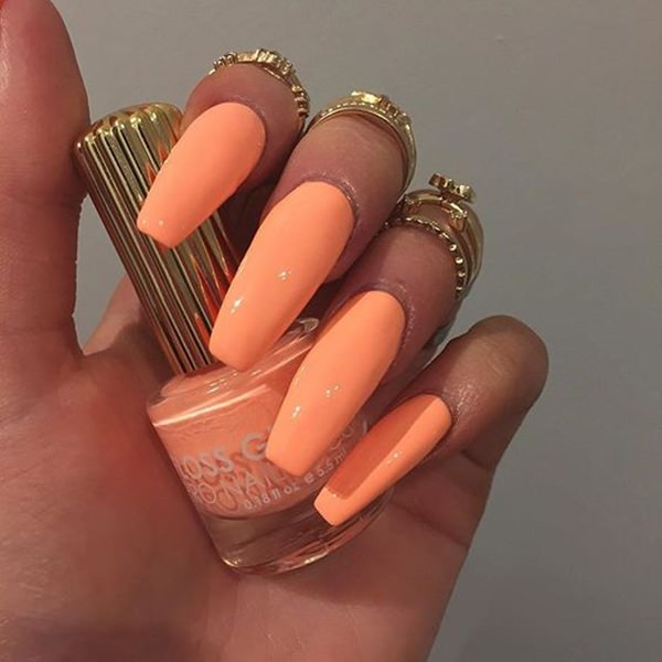 5 Pure Orange Another Cute Long Acrylic Nails