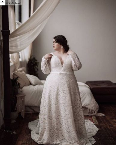 20+ Model of the Brides Dress for Fat Women to Look Stylish Slim 6