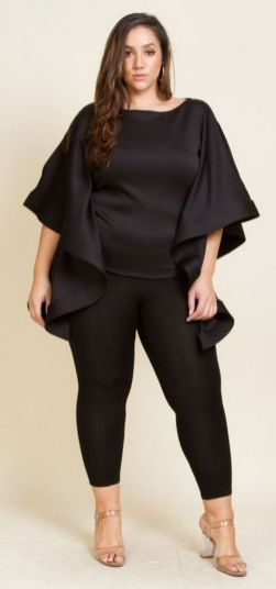 30 Fashion plus size outfit with black pants 19