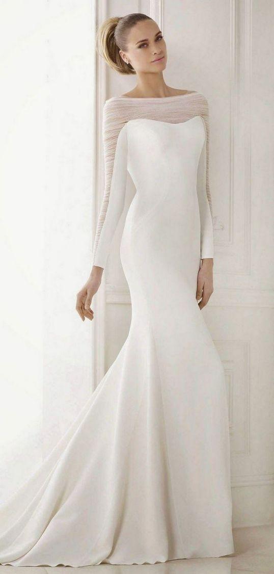 27 Simple White Long Sleeve Wedding Dresses ideas 1
