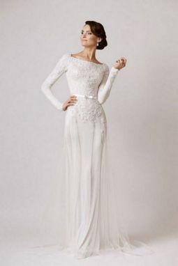 27 Simple White Long Sleeve Wedding Dresses ideas 12