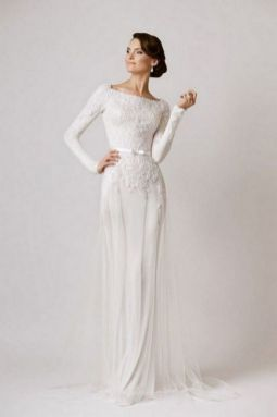 27 Simple White Long Sleeve Wedding Dresses ideas 12