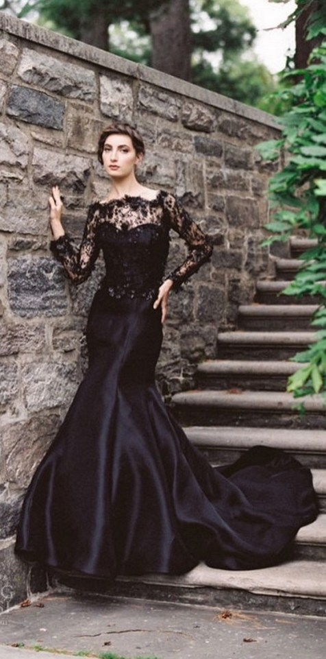 30 Black Long Sleeve Wedding Dresses ideas 12