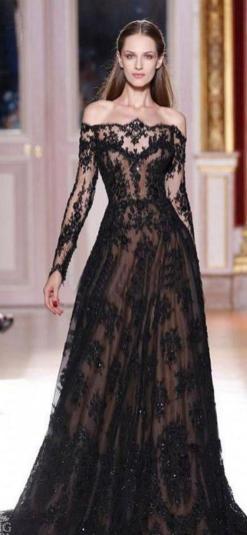 30 Black Long Sleeve Wedding Dresses ideas 16