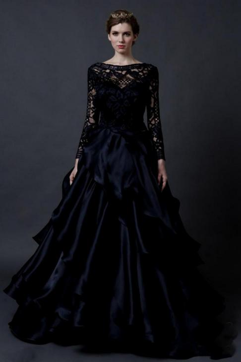30 Black Long Sleeve Wedding Dresses ideas 3 1