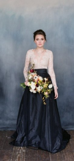 30 Black Long Sleeve Wedding Dresses ideas 5 1