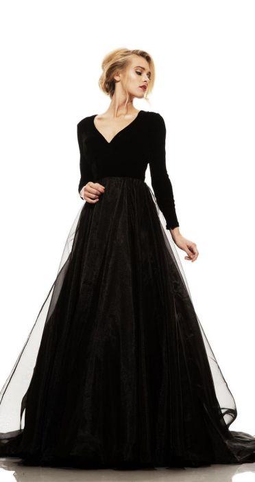 30 Black Long Sleeve Wedding Dresses ideas 6 1