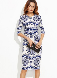 30 Women Print Dresses with sleeves Ideas 3