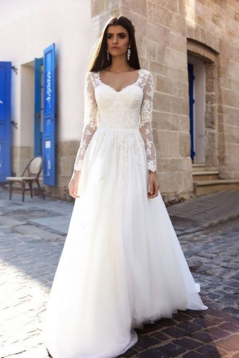 40 High Low Long Sleeve Modern Wedding Dresses Ideass 19