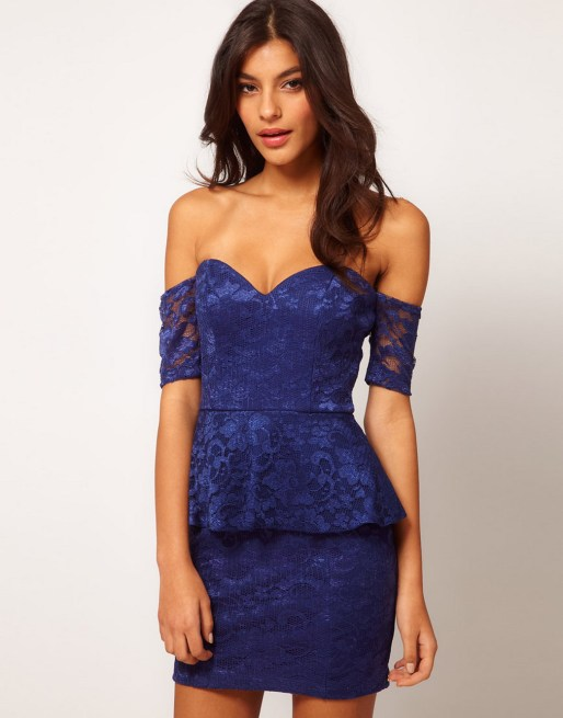 Classy evening shoulder lace dress for all special events 1