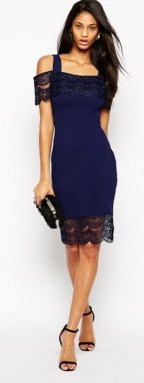 Classy evening shoulder lace dress for all special events 36