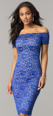 Classy evening shoulder lace dress for all special events 40