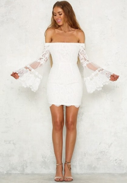 Classy evening shoulder lace dress for all special events 50