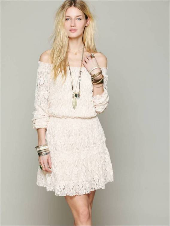 Classy evening shoulder lace dress for all special events 8