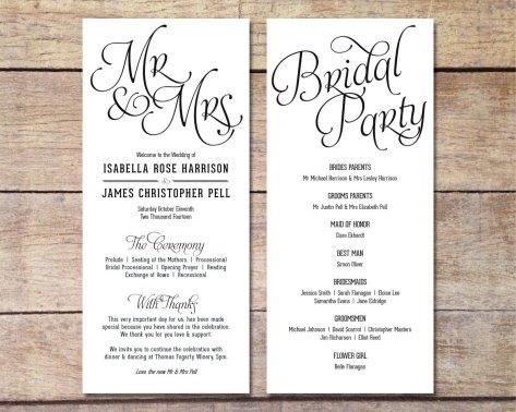 Simple Wedding Reception Program Sample Ideas 15