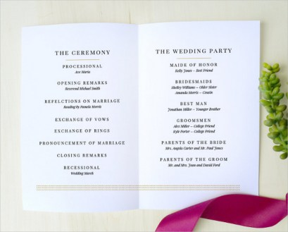 Simple Wedding Reception Program Sample Ideas 7