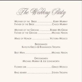 Simple Wedding Reception Program Sample Ideas 9
