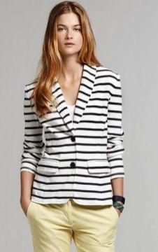black and white striped blazer womens 1