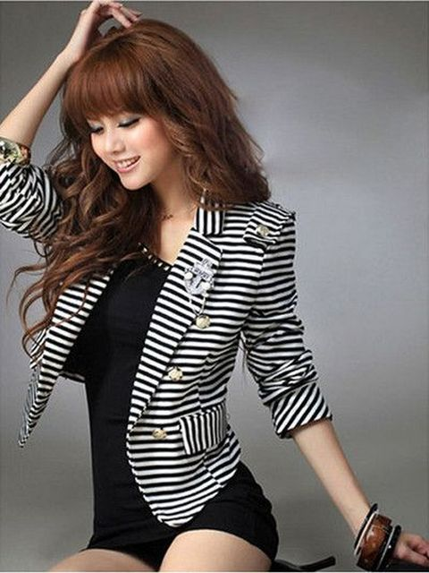 black and white striped blazer womens 12