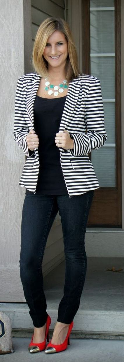 black and white striped blazer womens 15