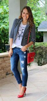 black and white striped blazer womens 17