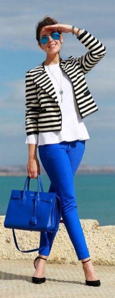 black and white striped blazer womens 37