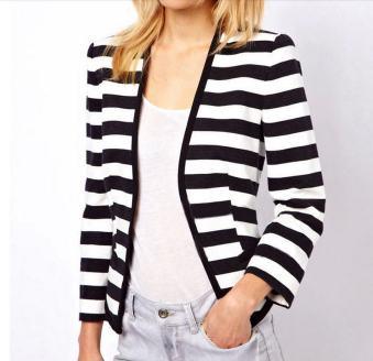 black and white striped blazer womens 44